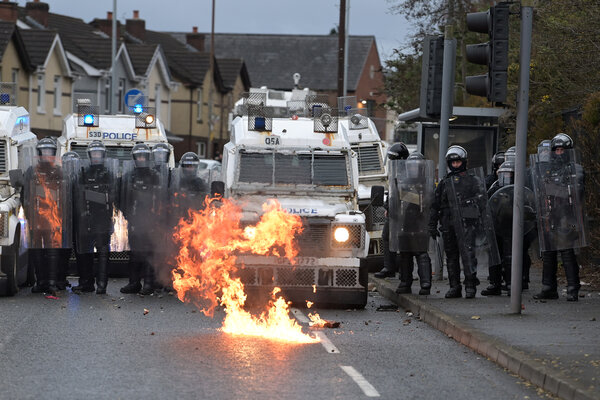 A clash between nationalists and the police in Belfast, Northern Ireland, in April.