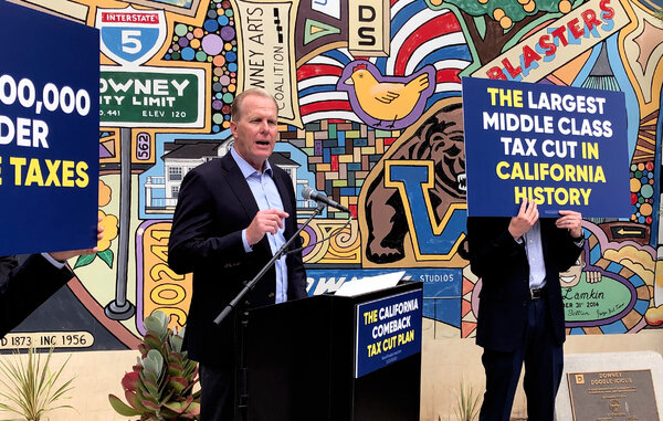 Kevin Faulconer, a Republican candidate for governor in California's recall election, during an appearance in Downey, Calif., last month.