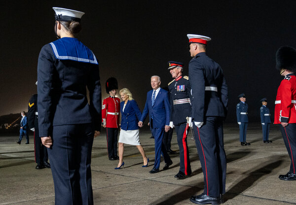 President Biden and Dr. Jill Biden arriving at Cornwall Airport Newquay on Wednesday.
