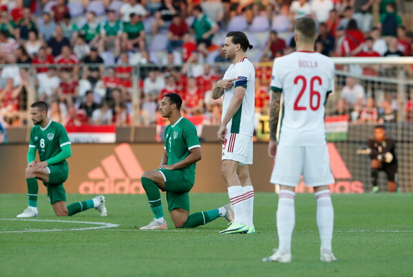 Ireland's players took a knee but Hungary's did not when they played a friendly this week.