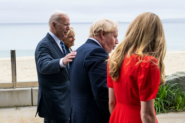 President Biden with his wife, Dr. Jill Biden, Prime Minister Boris Johnson of Britain and his wife, Carrie Johnson, in Cornwall, England, on Thursday.