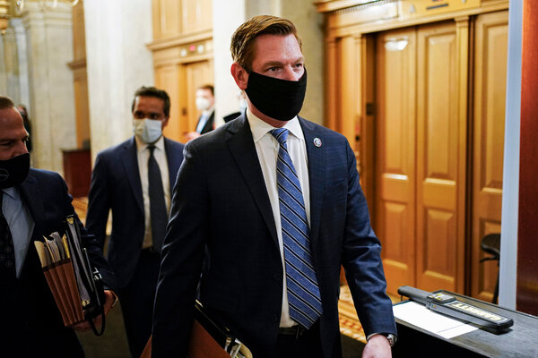 Rep. Eric Swalwell of California was one of at least two Democrats on the Intelligence Committee whose records were seized.