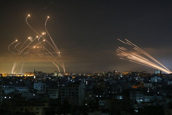 Rockets launched toward Israel from the Gaza Strip on Friday.