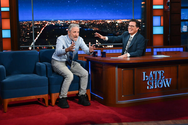 """Jon Stewart was a guest on Monday night's """"The Late Show With Stephen Colbert."""""""