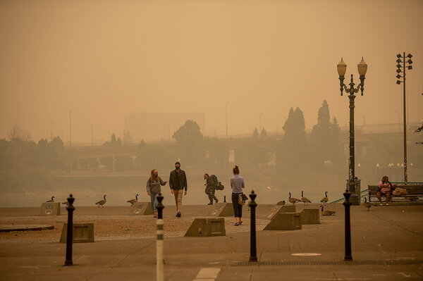 Smoky skies in downtown Portland, Ore., last September.