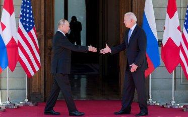 President Biden and President Vladimir Putin of Russia at the Villa La Grange in Geneva on Wednesday.