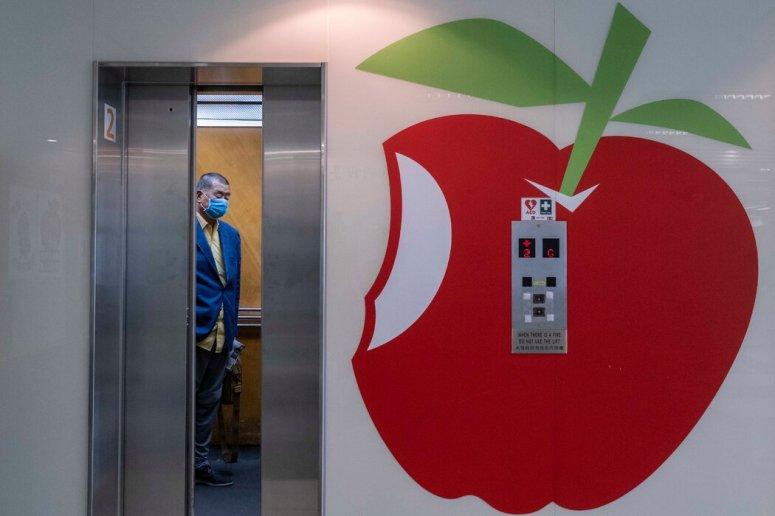 2020年8月,黎智英在《苹果日报》新闻编辑室。