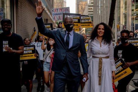 Raymond J. McGuire before a mayoral debate outside Rockefeller Center on June 16.