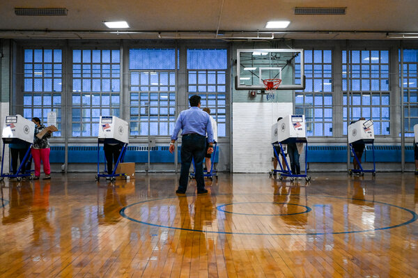 Voters cast their ballots at the polling site inside P.S. 98 Shorac Kappock in Manhattan.