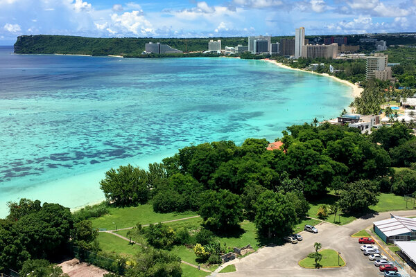 Tumon Bay, near Hagatna, Guam. Tourists who want to visit the island and get their coronavirus shots will need to book a package from a participating government-approved hotel.
