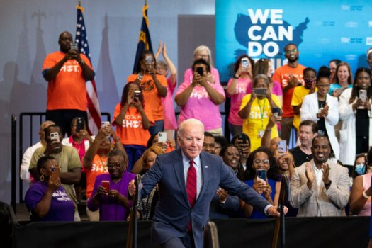 President Biden spoke about the need for vaccinating more Americans at the launch of a community canvassing event at a community center in Raleigh, North Carolina, on Thursday.