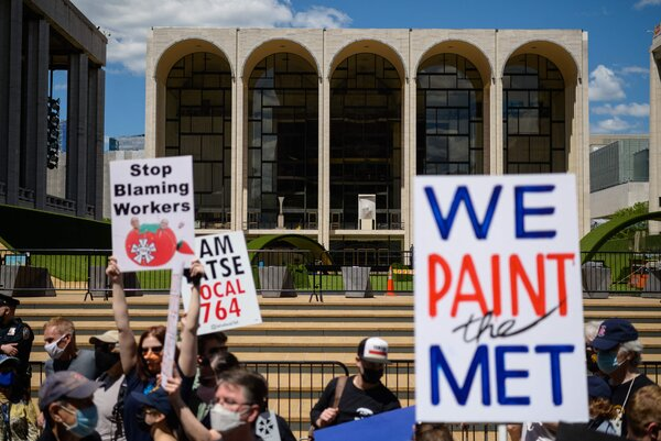 A protest including stagehands in front of he Metropolitan Opera in New York in May.