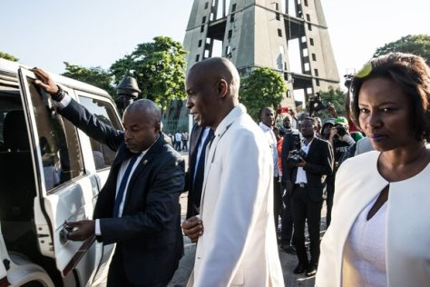 President Jovenel Moïse of Haiti, center, with his wife, Martine Moïse, in Port-au-Prince in 2019.