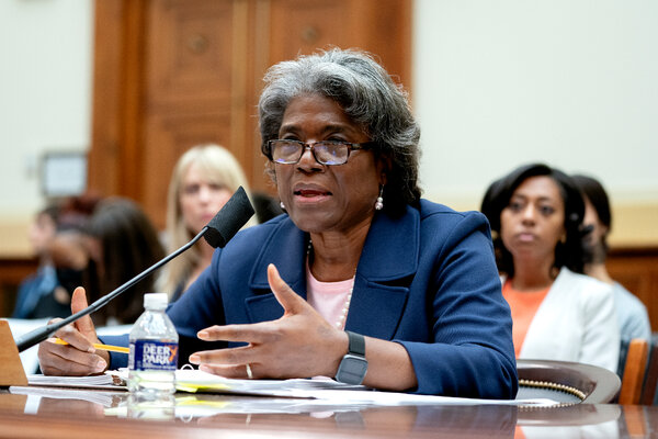 Linda Thomas-Greenfield, the American ambassador to the United Nations, at a House Foreign Affairs Committee hearing last month in Washington.