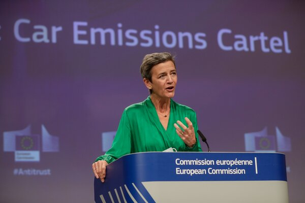 Margrethe Vestager, the competition commissioner for the European Commission, which accused Germany's largest automakers of collusion.