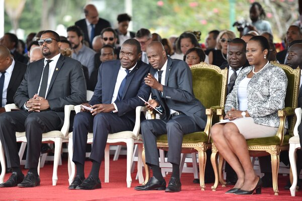 Joseph Lambert, center left, and President Jovenel Moïse of Haiti, center right, at a ceremony in Port-au-Prince, the country's capital, in 2018.