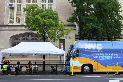 A mobile vaccination site in Brooklyn last month. In the past week, New York City had a stretch of several days of 400 or more coronavirus cases.