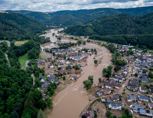 The Ahr river overran its banks in the village of Insul, Germany.