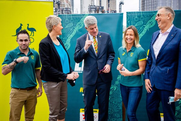 Australian Olympic officials during a news conference in Brisbane on July 15. On Wednesday in Tokyo, the International Olympic Committee selected Brisbane as the host for the 2032 Games.
