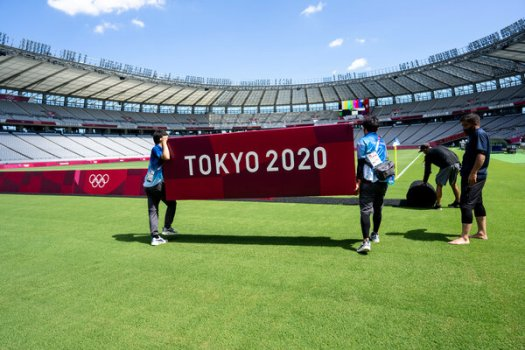 Preparations for Wednesday's match at Tokyo Stadium.