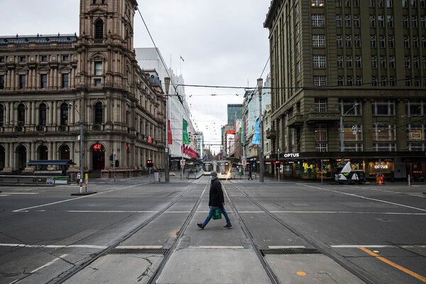 Melbourne in Victoria, Australia, which extended its lockdown after the state case total passed 100.