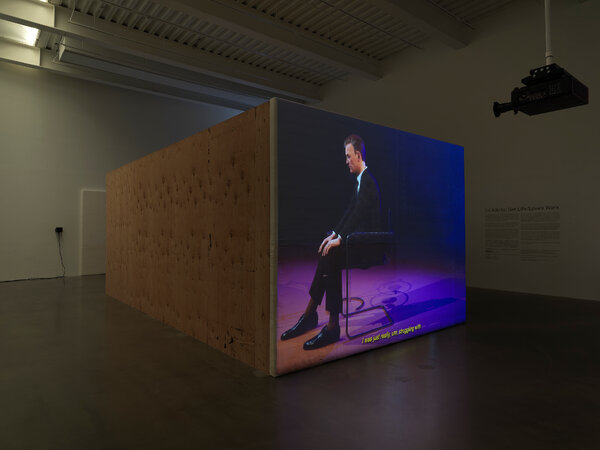 """Installation view of """"Ed Atkins: Get Life/Love's Work,"""" 2021, at New Museum in a collaboration with Nokia Bell Labs. His project uses motion- and facial-capture technologies to explore the depths of his own relationships."""