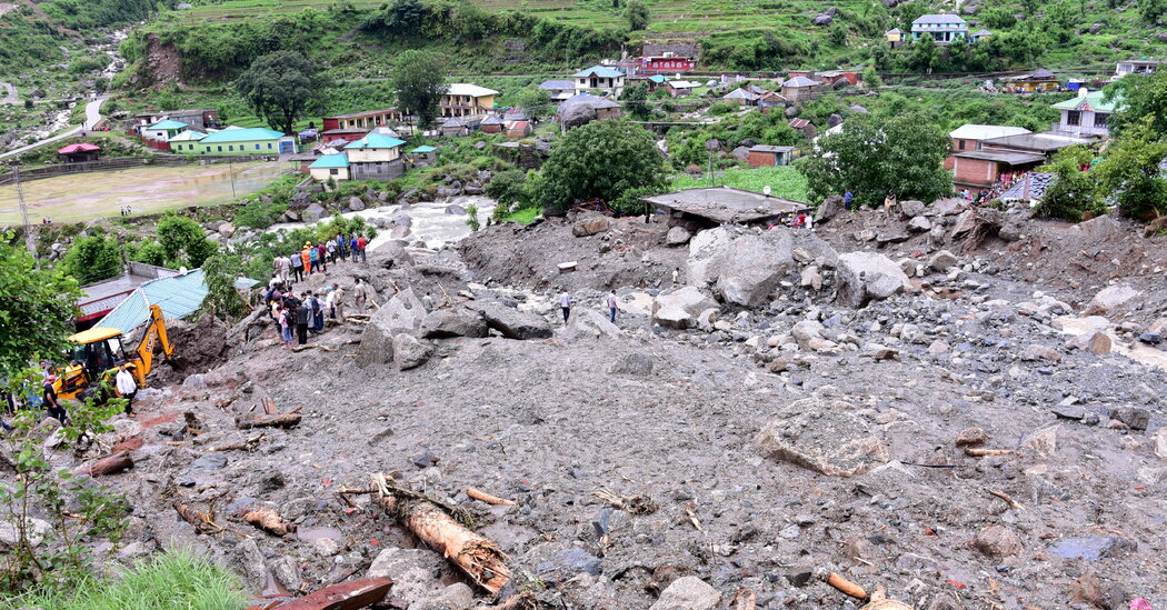 Scores Die in India as Monsoon Rains Swamp Towns and Send Boulders Tumbling