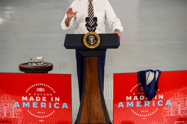 President Joe Biden delivered remarks on the importance of American manufacturing at Mack — Lehigh Valley Operations in Lower Macungie Township, Pa, Wednesday.