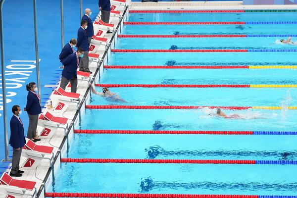 Katie Ledecky winning the 1500-meter freestyle this week.