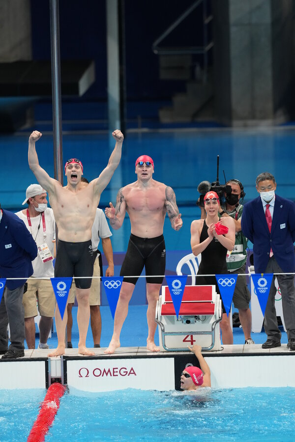 Britain won the mixed medley relay in a time of 3:37:58.