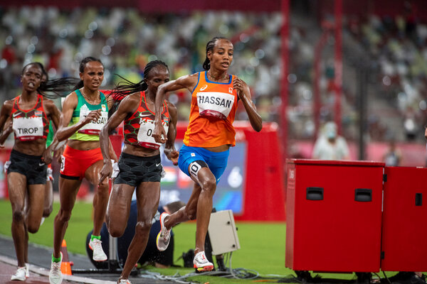 Sifan Hassan winning the women's 5,000-meter final. Now she's aiming for the 1,500- and 10,000-meter races.