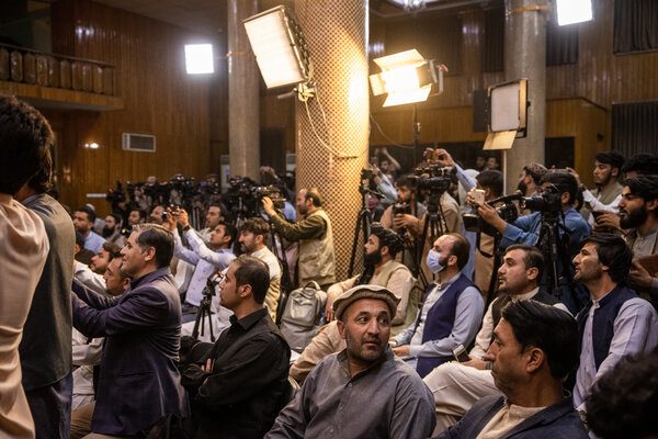 Reporters on Tuesday at the Taliban's first news conference since taking control of Kabul.