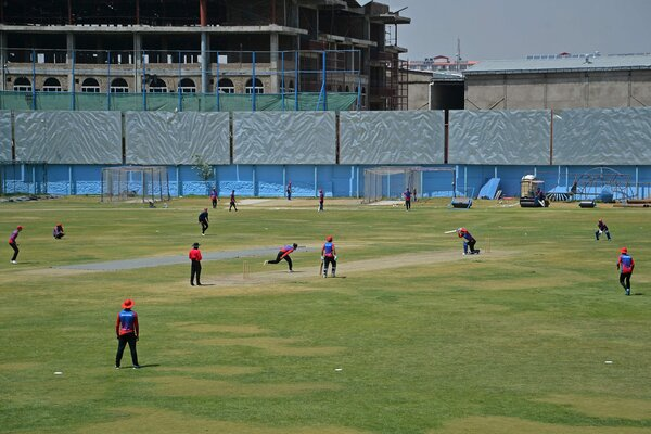 The Afghan national cricket team at a training session in Kabul on Saturday. The team was preparing for a match in Sri Lanka against Pakistan next month.