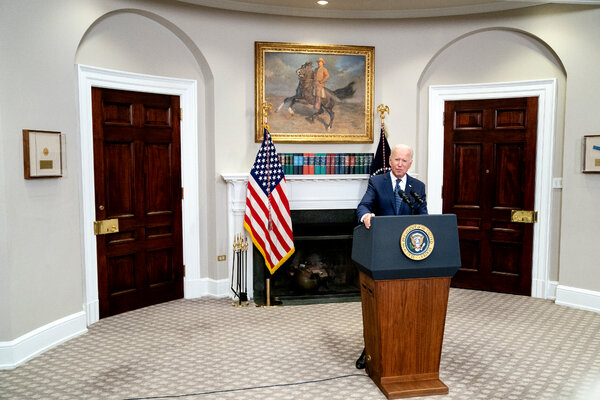 President Biden in the White House on Sunday. He is holding talks with other Group of 7 leaders on Tuesday.