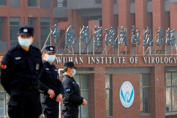 Security personnel outside the Wuhan Institute of Virology in China during the visit by the World Health Organization in February.
