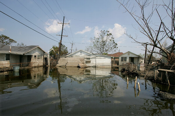 Delery Street in the Ninth Ward of New Orleans was flooded after Hurricane Katrina in 2005.