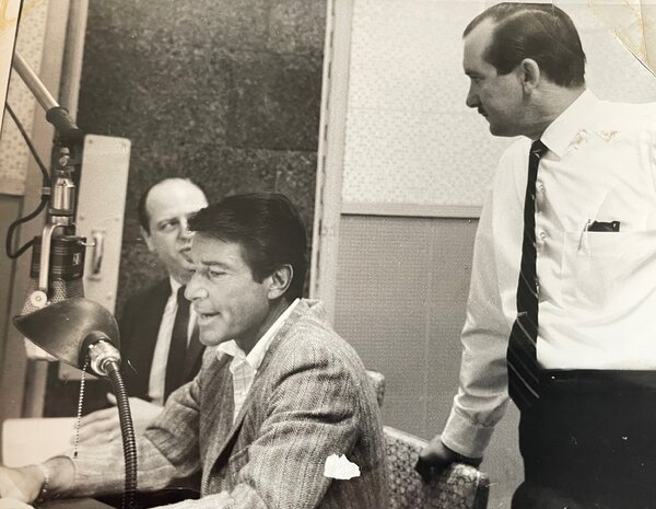 William Clotworthy, right, in the mid 1950's during a recording session with Efrem Zimbalist Jr.