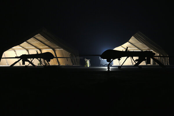 Air Force drones at a base in the Gulf region in 2016.