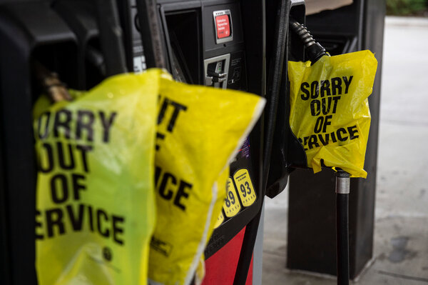 Gas pumps at a station in Gulf Hills, Miss., on Friday as residents prepared for Hurricane Ida.