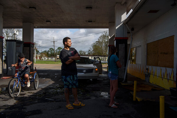 Customers lined up outside a gas station in southeast Louisiana on Monday.Hurricane Ida will almost certainly exacerbate shipping and material shortages.
