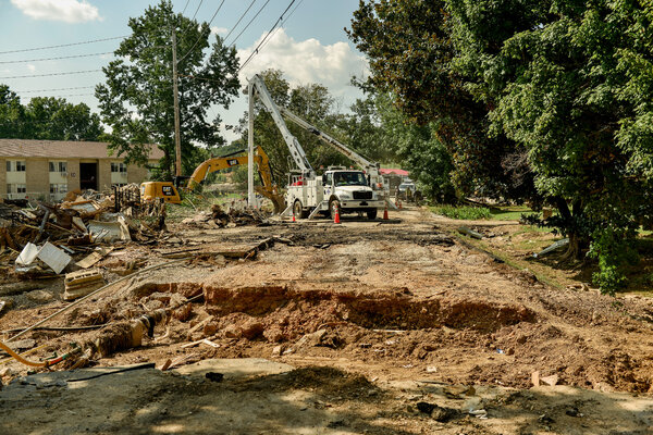 Destruction in Waverly, Tenn., last week. The central part of the state, which was recently struck by deadly flash flooding, is preparing for more potential flooding from Ida.