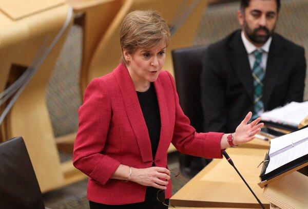 Nicola Sturgeon, the first minister of Scotland, speaks at Holyrood in Edinburgh on Thursday.