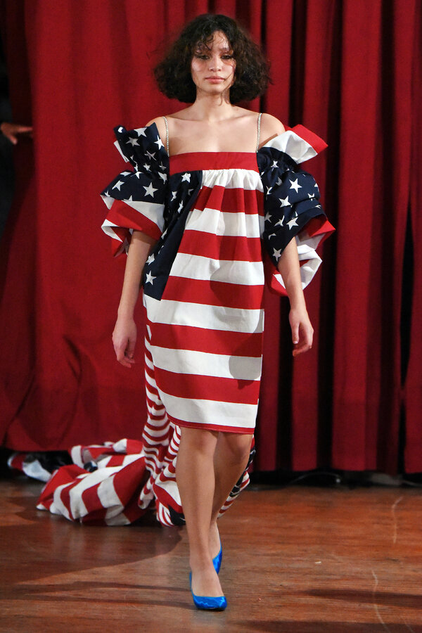 Another way of thinking about the American flag, from Vaquera's breakout fall 2017 show.