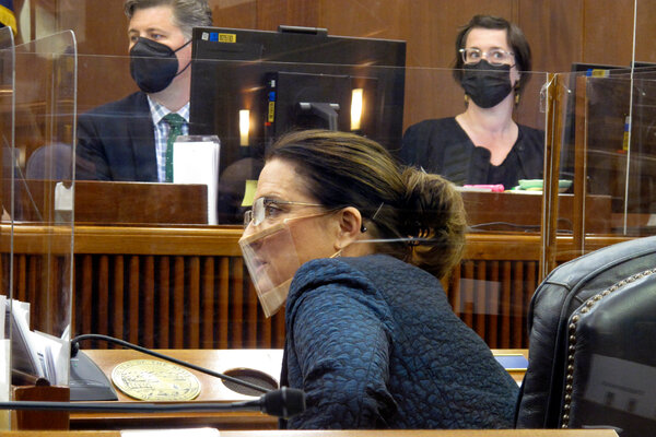 Alaska State Senator Lora Reinbold on the floor of the Alaska Senate in April.
