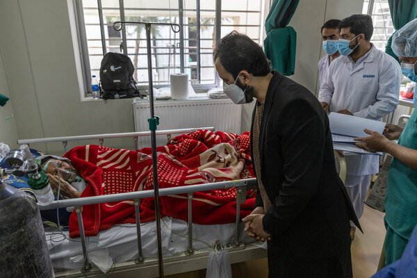 Wahid Majrooh, the Minister of Public Health, toured a covid ward in the Afghan Japan Hospital, the main Covid-19 hospital in Afghanistan, in Kabul, Afghanistan on Wednesday.