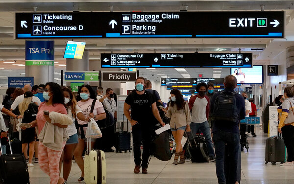 Increases in airfares — a key factor in inflation earlier this year — might begin to ease as the rise in Delta variant coronavirus cases keeps some travelers at home, economists expect.