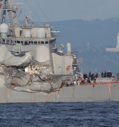 the u s s fitzgerald s damaged starboard side eugene hoshiko associated press the container ship  [ 1400 x 831 Pixel ]
