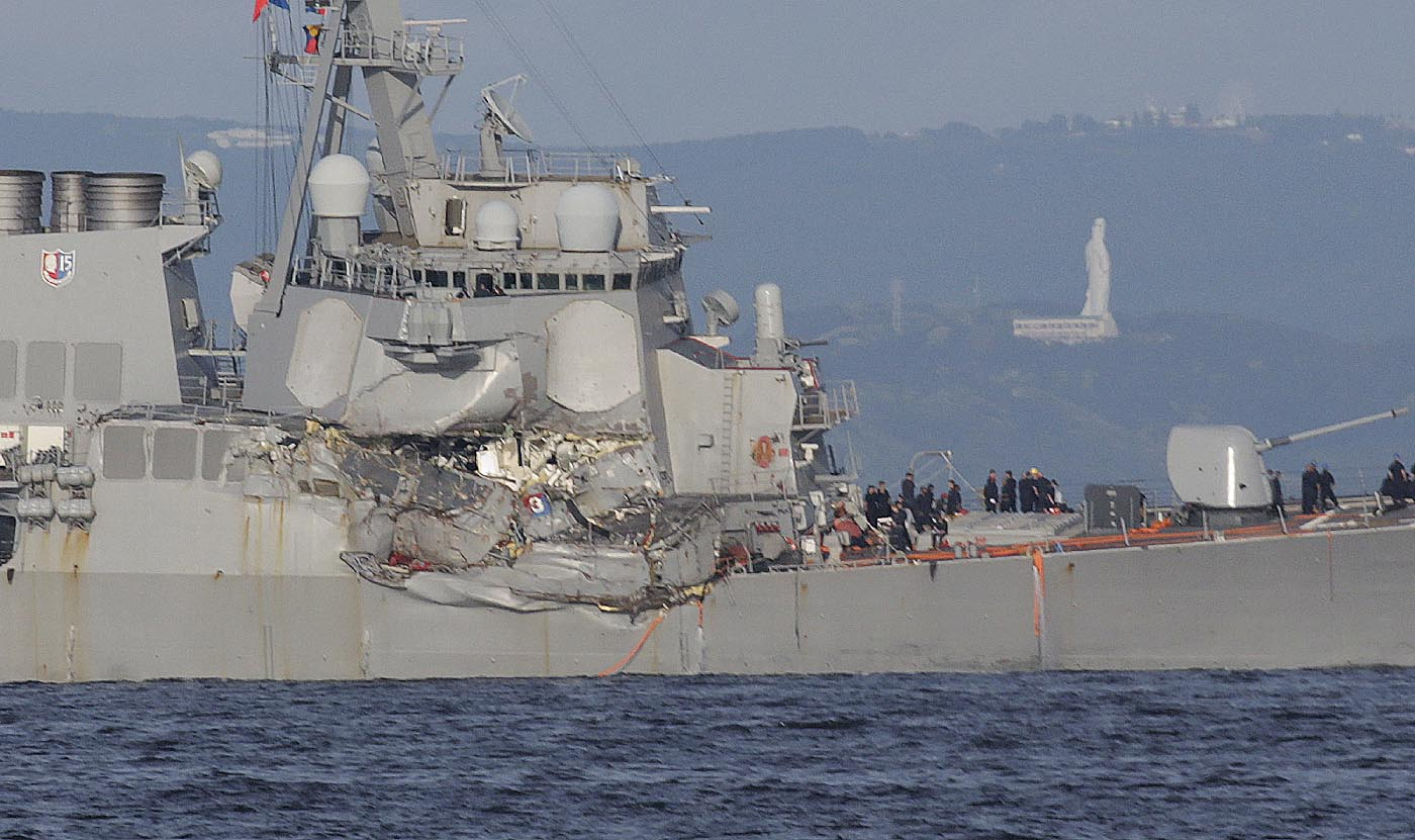 hight resolution of the u s s fitzgerald s damaged starboard side eugene hoshiko associated press the container ship