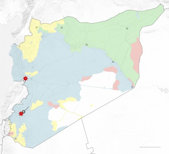 A map showing where the chemical attacks in Syria took place. It also points out the places where targeted strikes were carried out by UK, US and France.