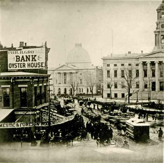 Бруклинская ратуша, вид на углу Фултон-стрит и Миртл-авеню, около 1876 года.